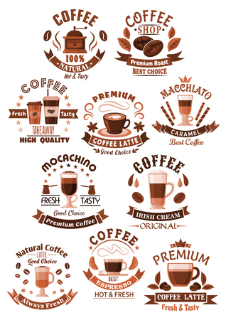 Vector icons coffee set for cafeteria or cafe