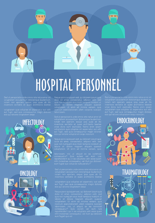 endocrinology: Hospital personnel doctors medical vector poster Illustration