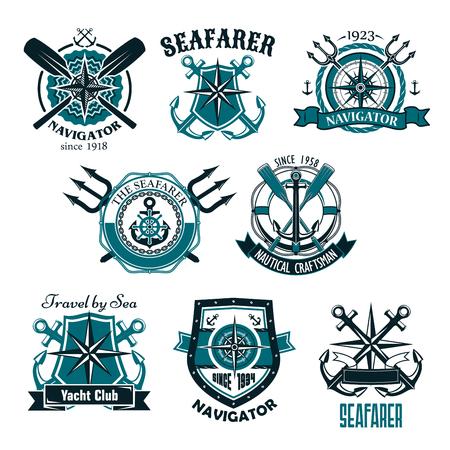 Nautical heraldic vector icons of marine seafarer