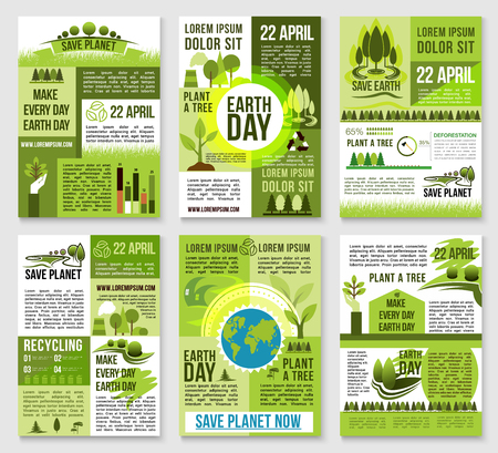 Earth Day poster template. Save planet banner with earth globe, green nature landscape, eco house, tree planting and recycling symbols. World environment protection day invitation card design