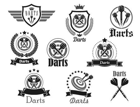 Darts club or championship tournament vector icons templates set. Isolated icons of dart board and arrows aiming to bullseye target on dartboard with victory laurel wreath ribbons, crown and stars