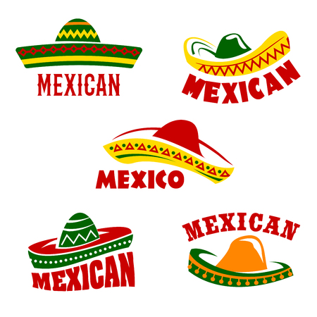 national colors: Mexican restaurant vector icons set. Isolated symbols of traditional Mexico sombrero hats for mexican cuisine cafe pub or tequila drink bar sign in national flag colors