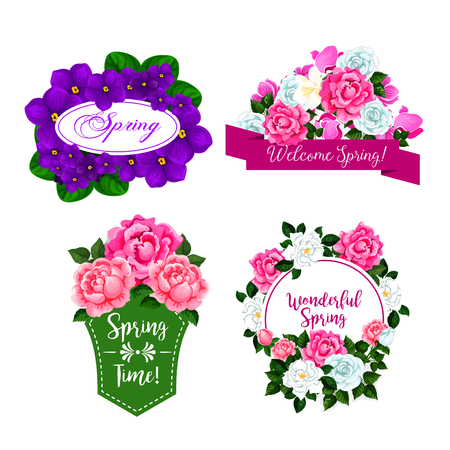 Vector Flowers bouquets for spring greeting quotes