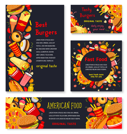 Vector Banner and posters for fast food meals Illustration