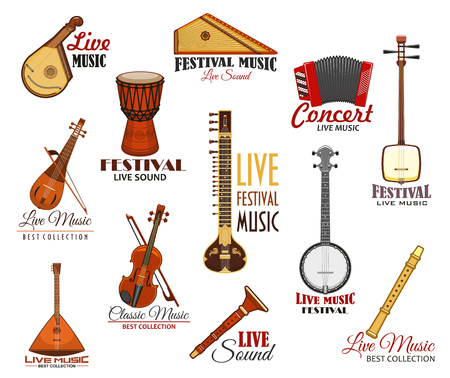 contrabass: Vector Icons set for live music festival concert