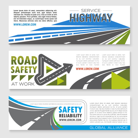 tunneling: Road safety service banners set for highway reliability construction or development investment company. Symbols of highway routes and bridges or motorway tunnels elements and symbols of road journey