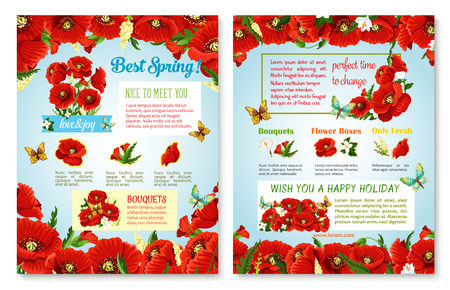 Spring flowers posters with blooming springtime design and vector holiday greeting. Flourish spring grass fields of red poppy blossoms, daisy or orchid blossoms and floral bunches with butterflies