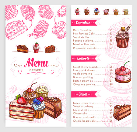 Desserts and pastry vector menu template. Price design for sweet biscuits and bakery cakes or cupcakes, cheesecake, tiramisu and brownie tortes, pudding or charlotte pie with cherry berry topping