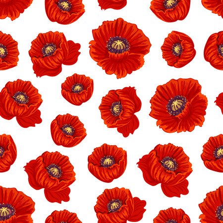 Spring flower seamless pattern background. Springtime floral pattern of blooming red poppy flowers. Spring holidays greeting card, textile or wallpaper design