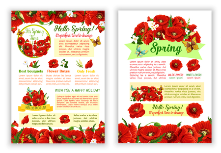 Vector Spring time poppy flowers greeting poster Illustration