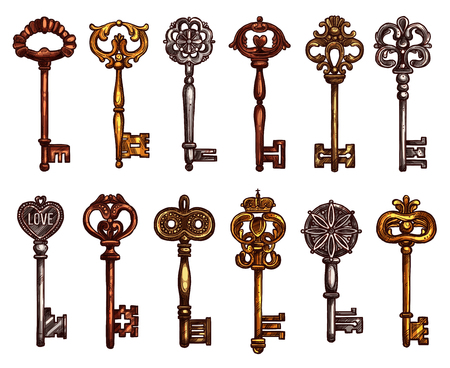 keys isolated: Vector Isolated icons sketch of vintage keys