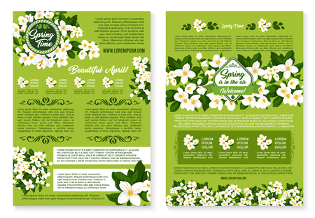 jasmin: Spring vector wishes posters of flowers bunches