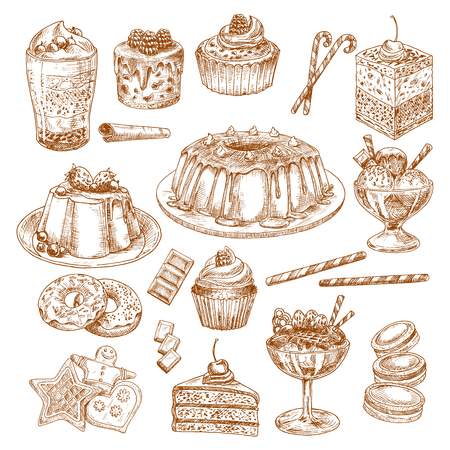 ケーキ デザートおよびペストリーのスケッチ アイコンをベクトルします。
