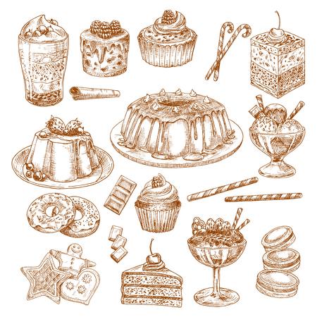 Vector schets iconen van cake desserts en gebak Stock Illustratie