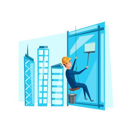 Vector uomo pulire le finestre di lavaggio sulla costruzione