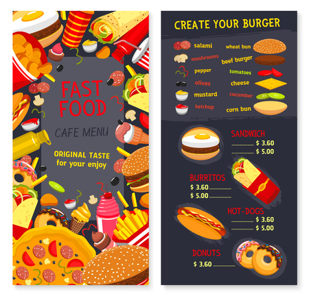 Vector Menu set for fast food snacks and desserts Illustration