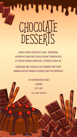 vanilla pudding: Vector Poster of chocolate desserts and cakes