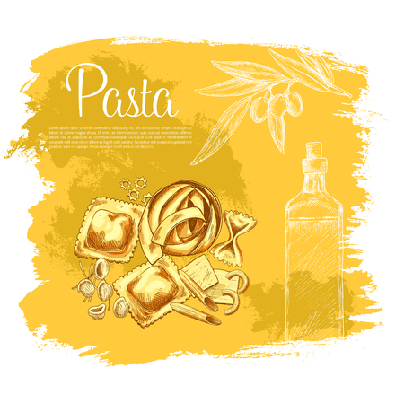 tortellini: Vector poster Italian cuisine pasta and olive oil Illustration