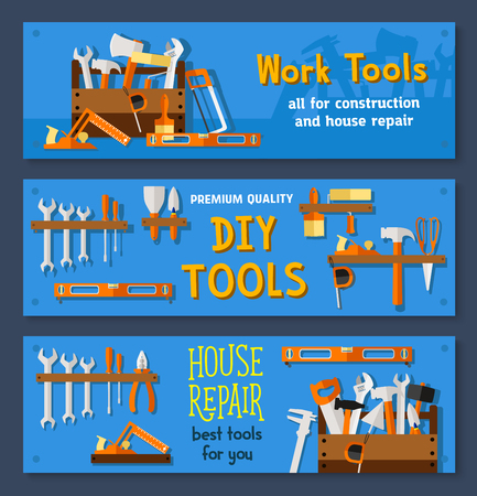 Vector banners of house repair work tools