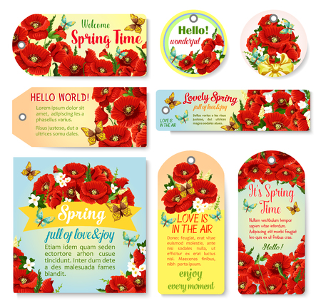 Spring holiday greeting cards of blooming flowers