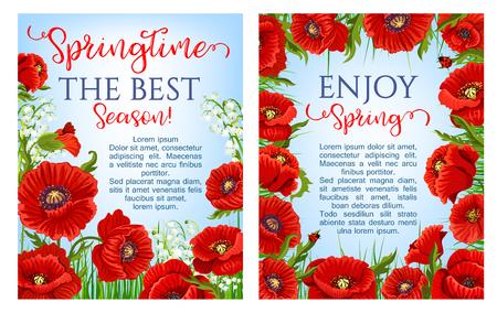 Vector lentetijd bloemen op groet posters Stock Illustratie