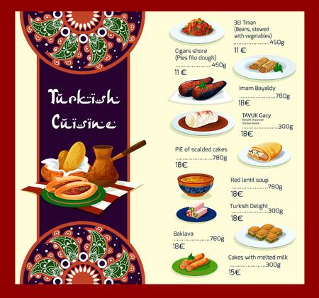 Vector menu sjabloon van Turks keuken restaurant