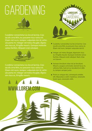 Vector poster of landscape or gardening