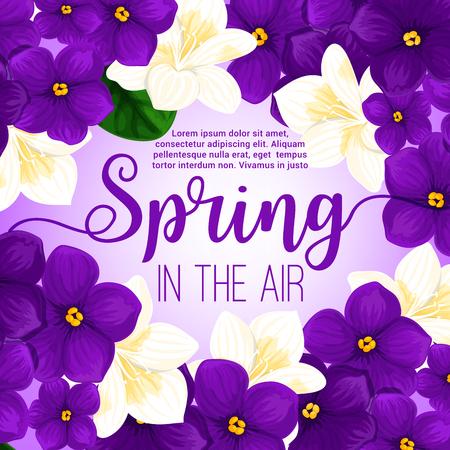 postcard: Spring flower frame greeting card design Illustration