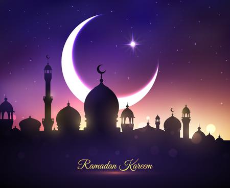 라마단 카림 또는 Ramazan 무 바락 인사말 카드 모스크 대성당, 초승달 및 파란색 밤하늘에 반짝 반짝 빛나는 스타. 이슬람 또는 이슬람 전통 종교 축하