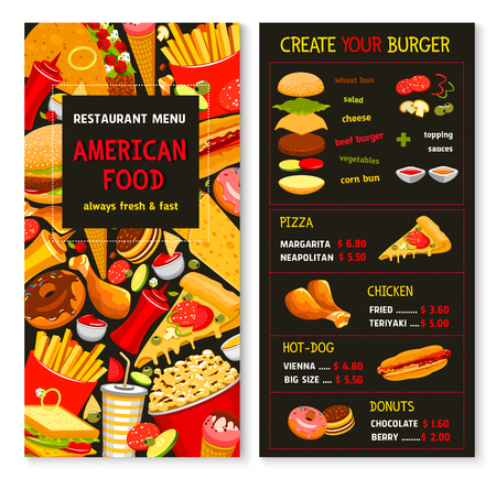Fast food restaurant vector menu template. Price for fastfood burgers and hot dogs, frech fries and chicken nuggets or wings hamburger or cheeseburger sandwiches, combo meals and ice cream desserts Illustration