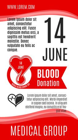 Blood donation vector poster for 14 June social volunteer charity event of World Donor Day. Design of blood and heart, helping hands for donorship medical group or donor center hospital Illustration