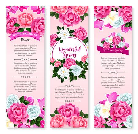 Lente vakantie floral groet banner set. De bloembloem van de lente en het ronde kader van witte roze, krokus, roze pioen en cyclaam, verfraaiden door lint met groetwensen. Thema lente ontwerp