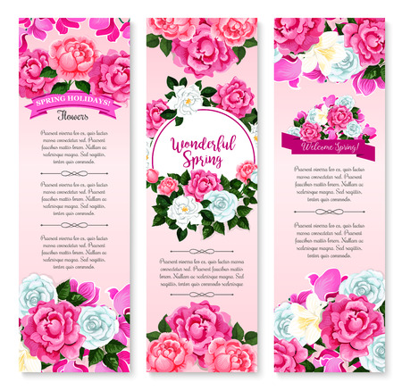 Spring holidays floral greeting banner set. Springtime flower bunch and round frame of white rose, crocus, pink peony and cyclamen, decorated by ribbon with greeting wishes. Spring season theme design Illustration