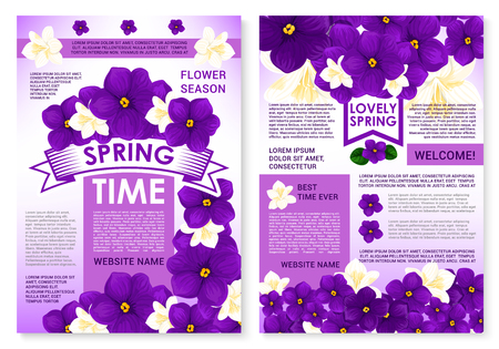 Springtime seasonal posters set with spring flowers and greeting quotes. Vector garden viola bouquets or violet crocuses blossoms with flourish ribbons and blooming floral wreath or orchid petals