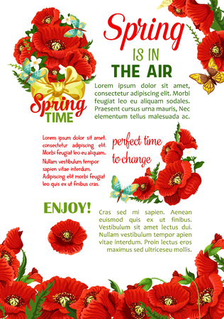 spring bud: Springtime holidays poster with spring flower bouquet. Floral bunch of poppy flowers and flowering branch of jasmine plant, green leaf and bud, decorated with butterfly and bow. Spring themes design