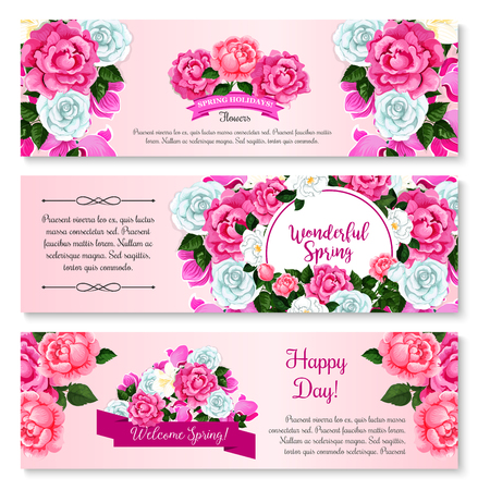 spring bud: Spring flower bouquet for greeting banner template. Flower frame border of rose, crocus, peony and cyclamen with green branch and floral bud, decorated by ribbon banner for springtime holidays design Illustration