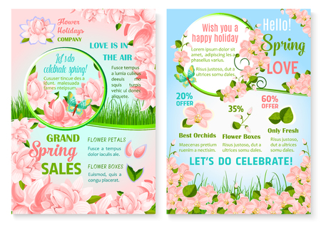 Spring holiday promo sale flowers vector posters Illustration