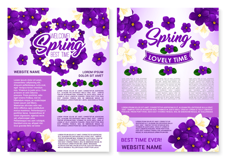 Vector Spring poster of violets and orchid flowers Illustration