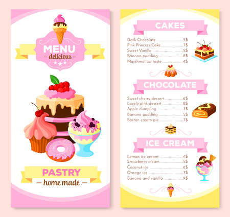 bakery price: Vector Menu template for homemade pastry cakes Illustration