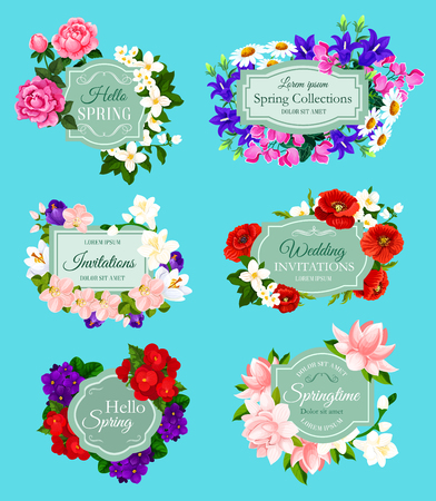 Spring flowers bouquets for wedding invitations and holiday greeting cards.