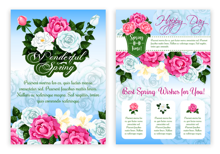 flower layout: Happy Spring floral poster template. Springtime flower of rose and peony bouquet with green leaf, floral bud, greeting wishes text layout with floral border decoration. Spring season holiday design Illustration