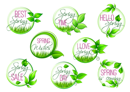 label frame: Spring sale and springtime holiday label set. Hello Spring isolated symbol of fresh green leaf and grass frame with greeting wishes of Happy Spring Holidays in center Illustration