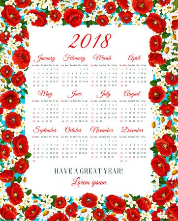 Vector Calendar 2018 of spring flowers frame Çizim