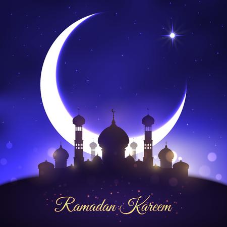 ラマダン カリーム イスラム教徒の休日のためのベクトル挨拶