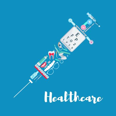 Medical care syringe medicine vector poster