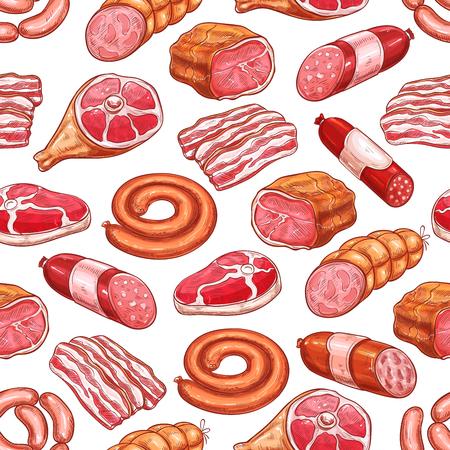 Vector seamless Pattern of butchery meat products Ilustração