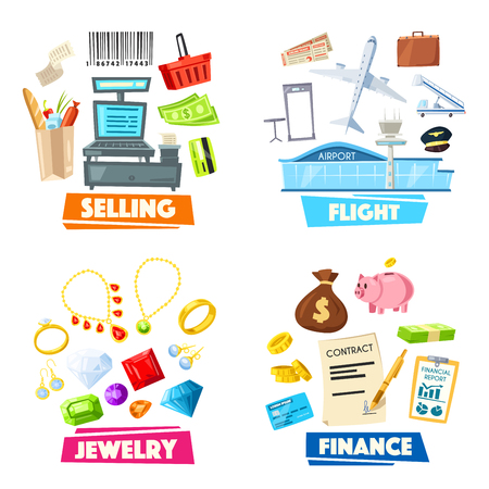 Selling, jewelry, finance and flight vector items Illustration