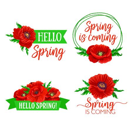 Vector Spring time flowers and quotes bouquets Ilustração