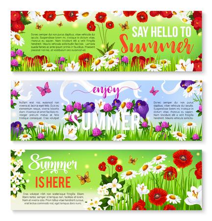 Summer flower greeting banner set design Illustration