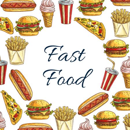 restaurant food: Vector Sketch poster for fast food restaurant Illustration